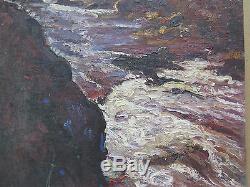 Tableau Ancienne Peinture Huile sur Table Paysage Montagne en Automne Original