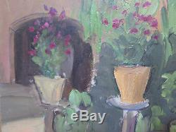 Tableau Ancienne Peinture Huile sur Table Vue Paysage de Campagne Original p3