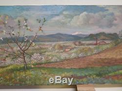 Tableau Ancienne Peinture Huile sur Toile Paysage Campagne Panoramique Printemps