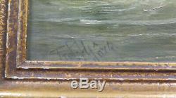 Tableau Ancienne Peinture à Huile Signé Bataille Navale Marine École Allemand X2