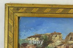 Tableau Ancienne Peinture à Huile Signé Paysage Provence France Borgo BM38