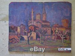 Tableau Ancienne Peinture à Huile Vue Pays Campagne Emilia Romagna Original p8