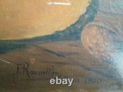 Tableau Ancienne Peinture à l'huile signée F. Roussillon 1900 sans cadre
