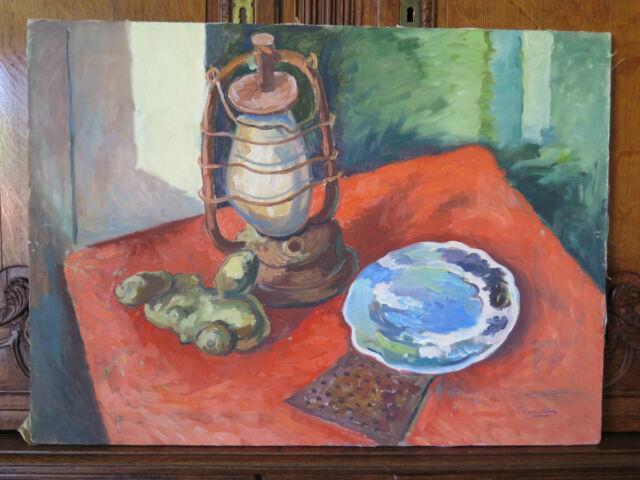 Tableau Ancienne De Style Impressionniste Peinture Huile Sur Tela Signé Garantie