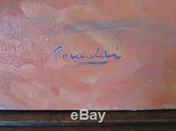 Tableau Ancienne de Style Impressionniste Peinture Huile sur Toile Signé