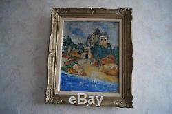 Tableau Bord de mer à Ploumanach signé MIEL Peinture sur toile cadre ancien