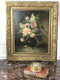 Tableau / Huile Sur Toile Ancienne (bouquet De Lilas Et Pivoines) Signée