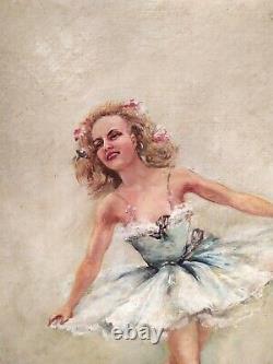 Tableau Huile / Toile Peinture Ancienne, Danseuse, signé
