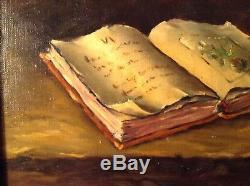 Tableau Impressionniste Nature Morte Manuscrit ancien Huile Toile signée LAIR