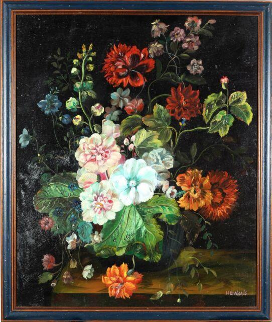 Tableau Nature Morte Ancien Bouquet De Fleurs Peinture à L'huile Signé Vintage