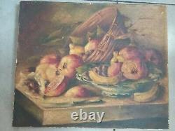 Tableau Nature Morte Aux Fruits Ancienne Peinture A Huile A Restaurer Signe
