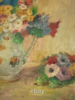 Tableau Niollon peinture à huile ancien bouquet de fleurs provence marcel arnaud