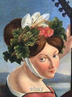Tableau Peinture 19è XIXè Portrait Femme à la mandoline Romantisme rare ancien
