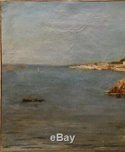 Tableau Peinture 19èm XIXèm Marine Marseille La Réserve Corniche Paysage ancien