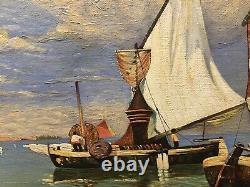 Tableau Peinture 20è XXè R. Bouvier Paysage Marine Réalisme Pêcheurs Rare ancien