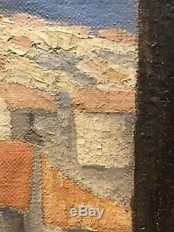 Tableau Peinture 20ème XXème Signé Saint-Tropez Citadelle Paysage Rare Ancien