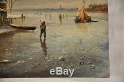 Tableau Peinture Ancien Bord De Mer Signe Marine Painting Signed