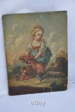 Tableau Peinture Ancien XVIII Antique Child Painting Oil On Wood