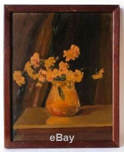 Tableau Peinture Ancienne Bouquet de Fleurs Huile sur Toile signé 1932