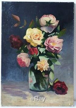 Tableau Peinture Ancienne Bouquet de Fleurs, Roses, Huile sur Toile