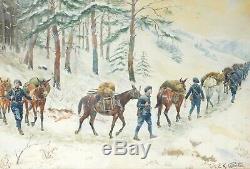 Tableau Peinture Ancienne, Chasseurs Alpin, Militaria