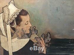 Tableau Peinture Ancienne Huile Bretonne, La Topeze, Mucha