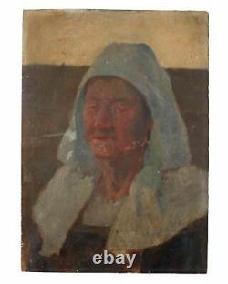 Tableau Peinture Ancienne Huile Bretonne, Portrait, Personnage, Femme