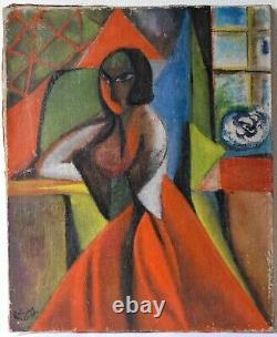 Tableau Peinture Ancienne Huile, Expressionniste, Portrait, Femme