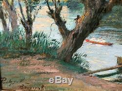 Tableau Peinture Ancienne Huile Gustave POETZSCH (1870-1950) Aviron, Paysage