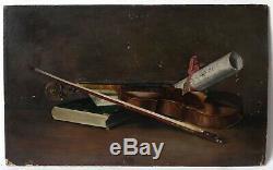Tableau Peinture Ancienne Huile, Nature morte au violon et parchemin