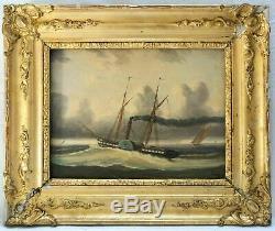 Tableau Peinture Ancienne Huile Original XIXème Bateau à Vapeur, Marine, Mer