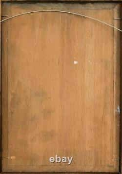 Tableau Peinture Ancienne Huile Original XIXème Personnage, Homme, Pêche, Lac