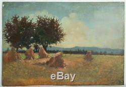 Tableau Peinture Ancienne Huile Paysage, Champs, Moisson, Blé, Arbre