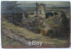 Tableau Peinture Ancienne Huile, Paysage, Château, Tour, Ruine, Arbre