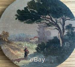 Tableau Peinture Ancienne Huile, Paysage, Chemin, Arbre