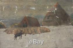 Tableau Peinture Ancienne Huile, Paysage, Elevage, Paysan, Moutons, Chien