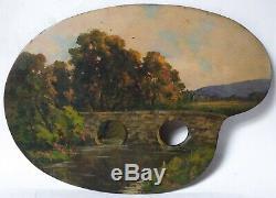 Tableau Peinture Ancienne Huile, Paysage, Forêt, Palette, Artiste, Pont