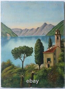 Tableau Peinture Ancienne Huile Paysage, Lac, Village, Italie, Montagne