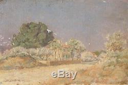 Tableau Peinture Ancienne Huile Paysage, Maison, Arbre, Sud, France