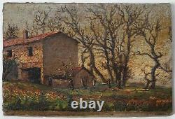 Tableau Peinture Ancienne Huile, Paysage, Maison, Champs, Arbre, Campagne