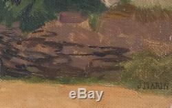 Tableau Peinture Ancienne Huile, Paysage, Maisons, Sud