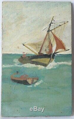Tableau Peinture Ancienne Huile, Paysage, Marine, Bateaux, Mer, Personnage