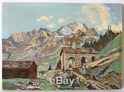 Tableau Peinture Ancienne Huile, Paysage, Montagne, Chapelle