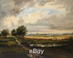 Tableau Peinture Ancienne Huile, Paysage, Personnage, Barbizon, Champs