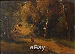 Tableau Peinture Ancienne Huile, Paysage, Personnage, Barbizon, Forêt, Arbre