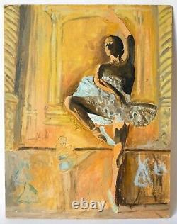 Tableau Peinture Ancienne Huile Personnage, Danseuse, Ballet