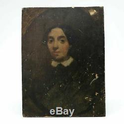 Tableau Peinture Ancienne Huile Portrait, Femme, Personnage