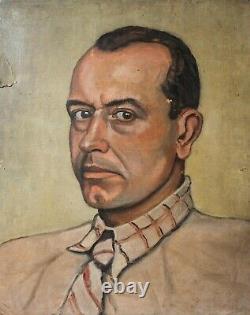 Tableau Peinture Ancienne Huile, Portrait, Homme, Personnage, Cravate