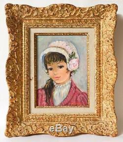 Tableau Peinture Ancienne Huile Portrait, Jeune Fille, Chapeau, Fleurs