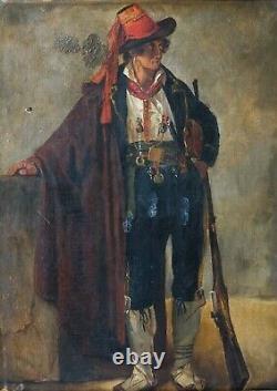 Tableau Peinture Ancienne Huile Portrait, Mazzocchi, Brigand Romain, Personnage